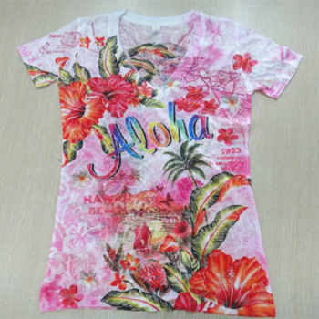 New Arrival allover flower print 3d sexy ladies t shirts,transparent custom sublimation printing women t shirt