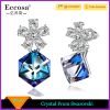 Color Earring Sterling Silver Flower Earrings With Unique Cubic Crystal From Swarovski Romantic Gift for Women