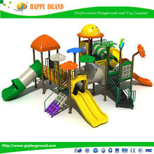 combined spiral slide small houses in plastic from garden for children