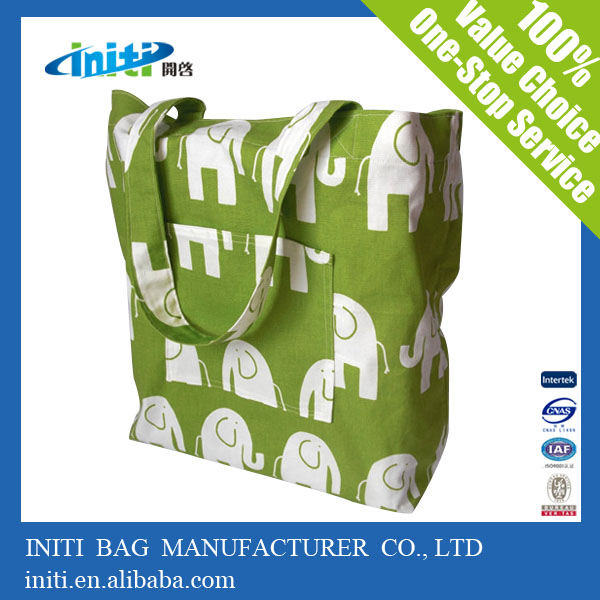 Promotional gift reusable canvas tote bag with outside pockets