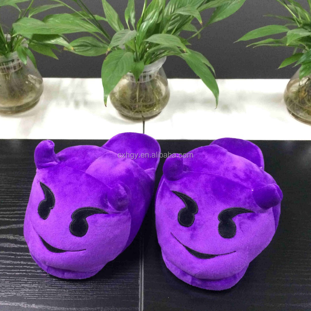 2016 comfortable Plush soft toy slippers with devil style