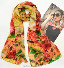 2016 In stock 100 pure silk scarf floral printed paj habotai silk scarves
