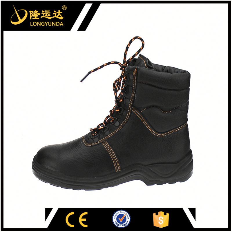 Black High Cut Embossed Leather PU Outsole Electric Shock Proof Safety Shoes