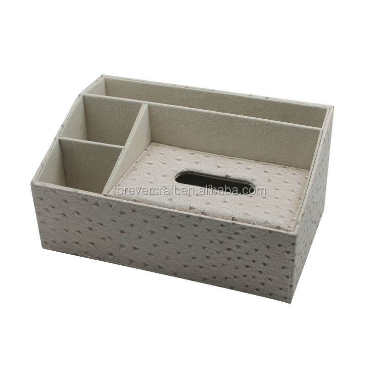 Multifunctional Desktop Stationery Storage Office Leather Desk Organizer