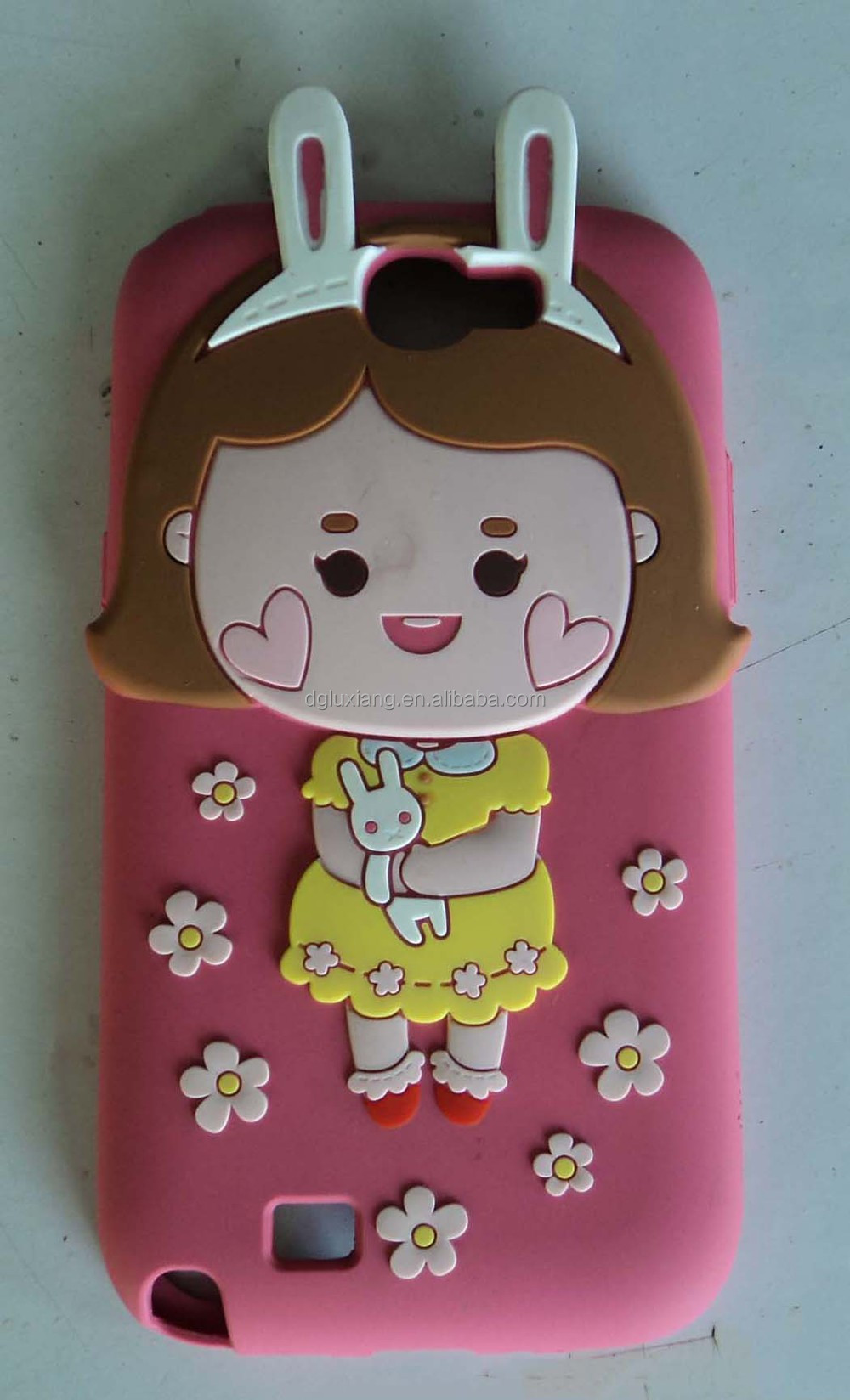 Cute girl modelling silicone mobile phone case