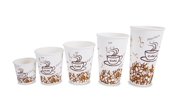 wholesale high quality printing ripple wall paper cups for coffee