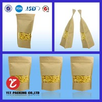 Custom made Stand up Sack Kraft Paper Bags/Doypack Kraft Paper Bag with window/Craft Paper Bags for snadwiches