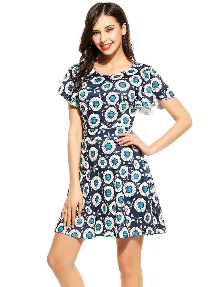 Women Fashion Vintage Style Short Flare Sleeve Floral Print A-Line Dress