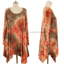 Online Shopping For Clothing Wholesale Summer Asymmetrical Rust Tie Dye Tunic Blouse For Women Ladies
