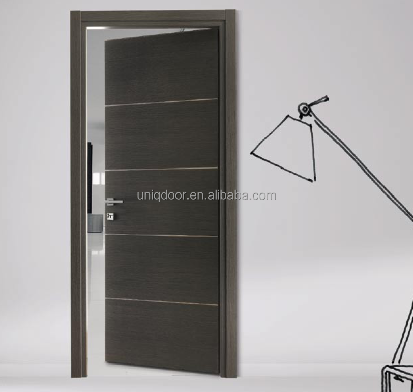 Black apricot veneered flush wooden door indoor door modern designs
