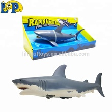 Solid <strong>pvc</strong> high quality sea animal model toy rapid <strong>friction</strong> shark with wheels