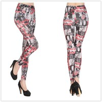 Fashion Newspaper Printed Letter Leggings Hot Sexy Tight Casual Stretch Cheap Ladies Leggings