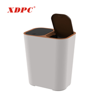 Household plastic double compartment segregation trash garbage can waste bin