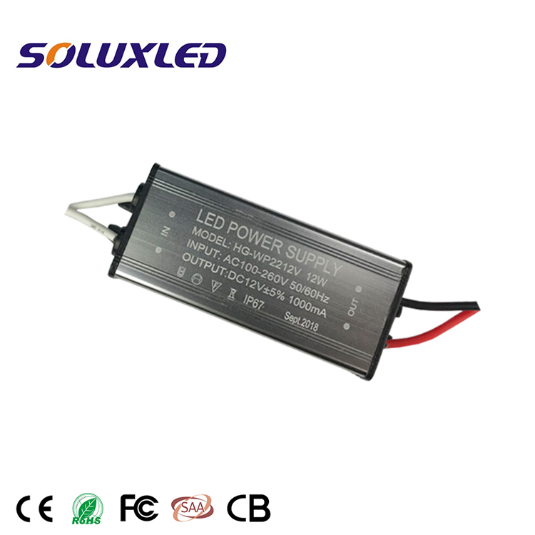 IP67 AC100-260V to DC12V 12W 1000mA LED Constant Voltage Switching Power Supply