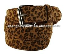 Leopard Print Faux Fur Leather Textured Belt, Animal Cheetah belt Unisex YJ-GH096-1