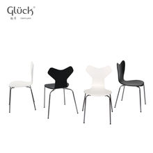 Modern dining room furniture white and black wooden bend chair COOL SC 1701