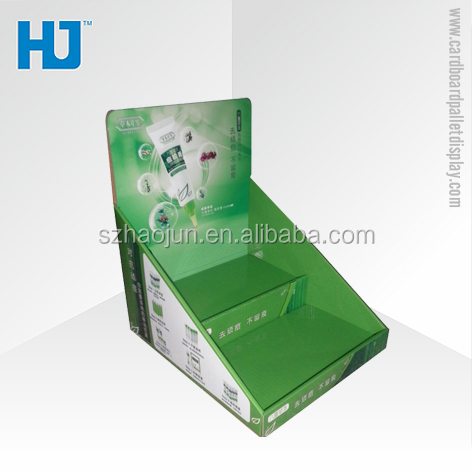 Advertising ladder cardboard retail facial cleanser display counter,cosmetic pdq counter top displays
