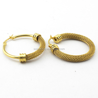 SSE270012 Wholesale 2015 Unique Design Fashion Hoop Earrings With Net Charm for Women & Ladies Party Jewelry