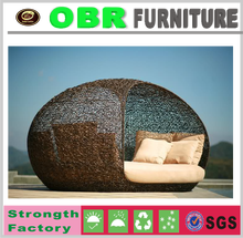 2017 luxury unique ourdoor rattan furniture round rattan adult day beds