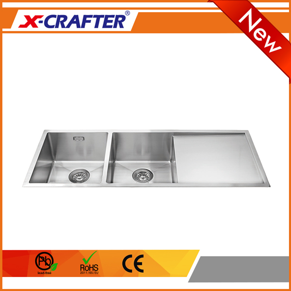 Restaurant <strong>kitchen</strong> double bowl 304 stainless steel undermount brushed <strong>sink</strong> with drainboard