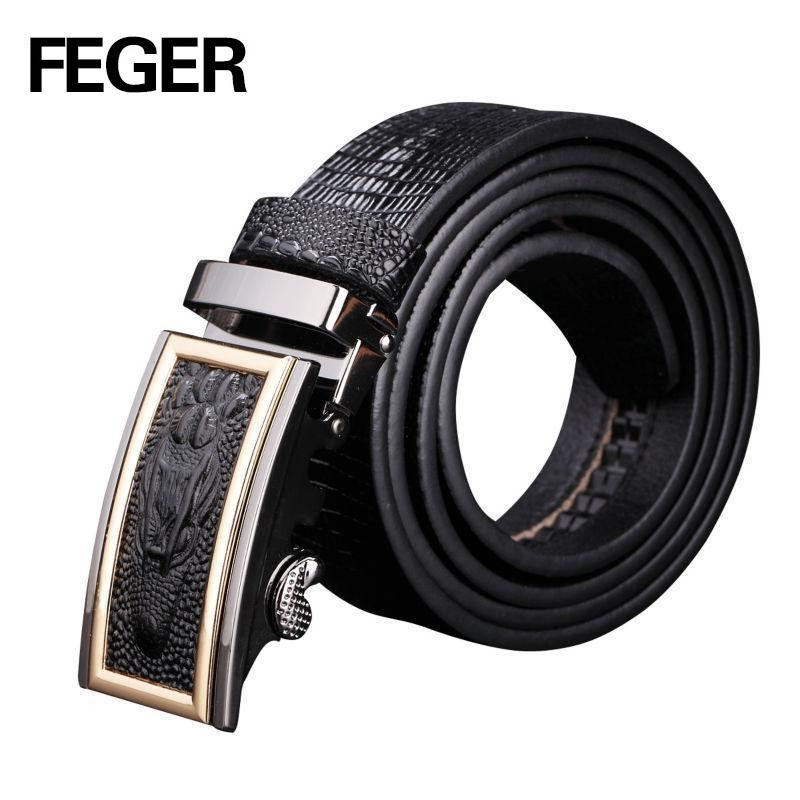 Mens Business Leather Belt Auto Lock Buckle