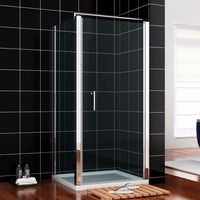FRAMELESS PIVOT SHOWER DOOR 6mm TOUGHENED GLASS EASY CLEAN INSTALL SHOWER ENCLOSURE WITH SIDE SHOWER PANEL