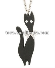 2012 fashion personality black persian cat Pendant necklace