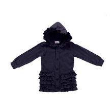 Wholesale 100% cotton baby girls fall winter clothing children navy ruffle cardigan kids boutique coat