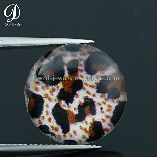 Leopard print oval resin flatback cabochon resin beads gemstone for jewelry/phone decoration/clothing