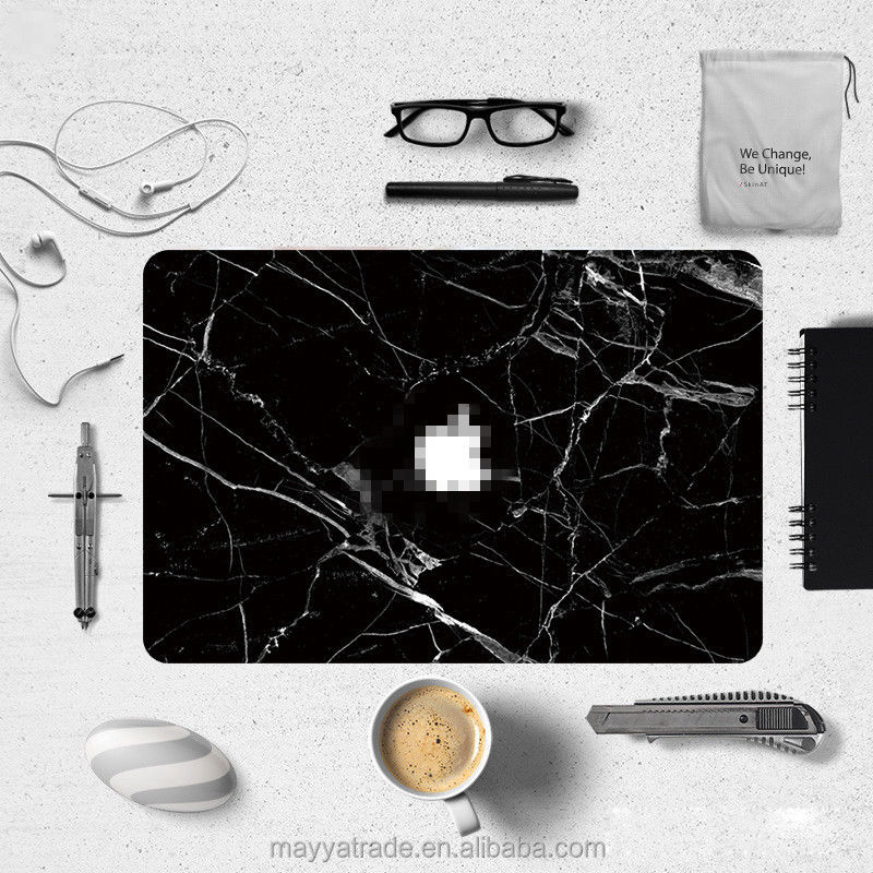 Laptop Custom Decal Vinyl Crack Black Marble Sticker with Keyboard Skin for MacBook Pro Air 13.3