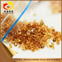 1-3mm natural rough round shaped diamond cut dark yellow gems