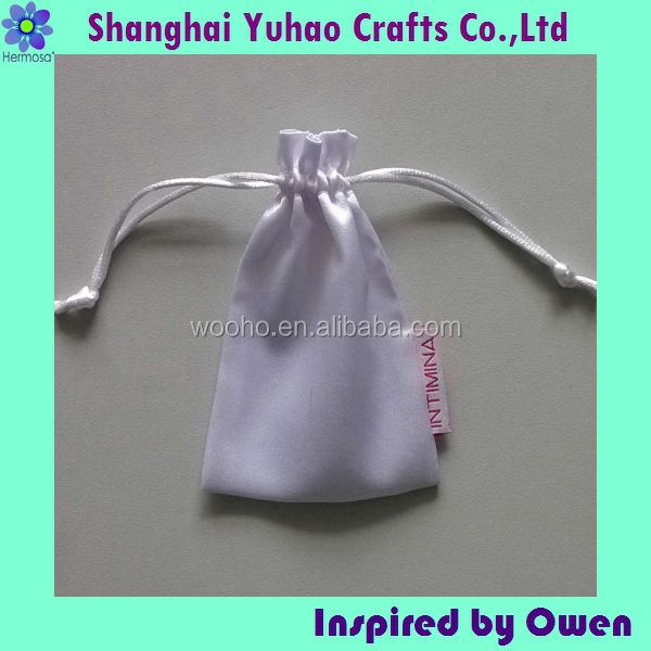 Luxurious White satin Jewelry pouch for Jewelry/timepieces with drawstring OEM/ODM
