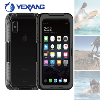 hot selling pc silicone waterproof case for iphone 8 phone waterproof cover with ip68 certificate