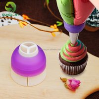 Cupcake Tri-Color Coupler Icing Cream Pastry Converter Tip Nozzles Adaptor Piping 3 Colors Couplers Baking Cake Decorating Tools