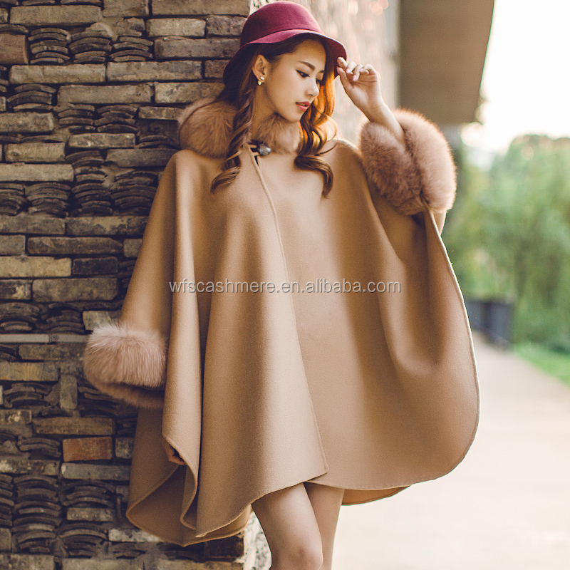 High quality real cashmere with genuine fox fur trim poncho cape for women fashionable loose pashmina