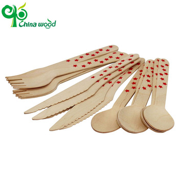 Printed wooden cutlery