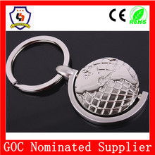 Professional round custom metal globe key chain manufacturer in China/ promotional earth 2d keychains(HH-key chain-344)