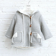 Stylish kids cashmere coat girls thicker warm hooded coat