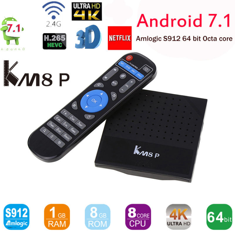 New model KM8 P Android 7.1 KD 17.1 S912 1GB ram external antenna android tv box