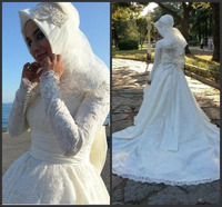 Arabia Long Sleeves Muslim Wedding Dresses Bruidsjurken Ball Gown Islamic Bridal Gowns with Hijab High Neck Robe Mariage