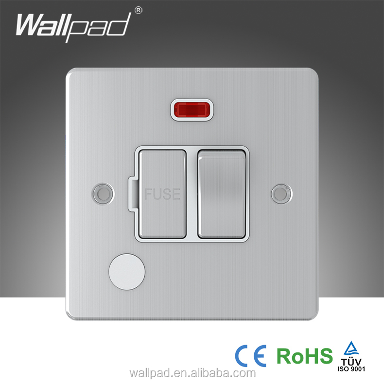 2016 China Hotsale Wallpad Brushed Chrome 5A Switched Fuse Connection Unit With Neon