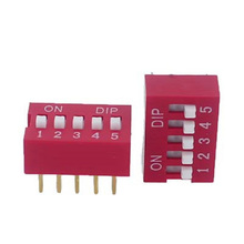 Spst Ds Side Type Thru Hole Raised Actuator Red 5 Pos Dip Switch