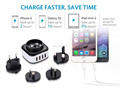 5V4.5A 4 USB Ports Travel Charger with Interechangeable EU, UK, US, AU Plugs
