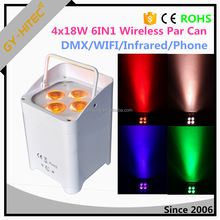 4x18w Wireless DMX Battery Powered Par Can 6in1 RGBWA+UV led uplighting