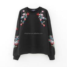 2017 Long sleeve wholesale crewneck sweatshirt women casual embroidered black tops good quality