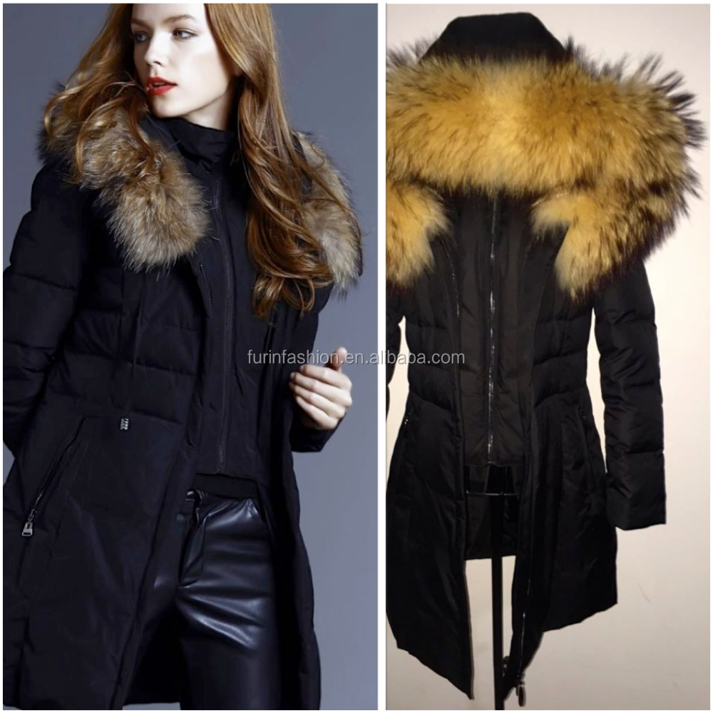 2017/2018 Latest Designs Women Winter Military Parka Jackets with Big Fur Trimming