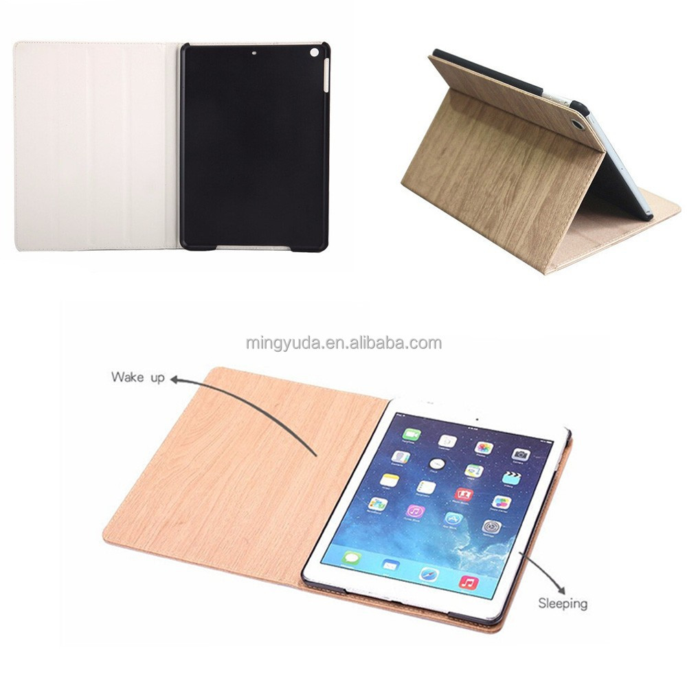 Smart Awake Stand Protector Shockproof Wooden Case For Apple iPad Air