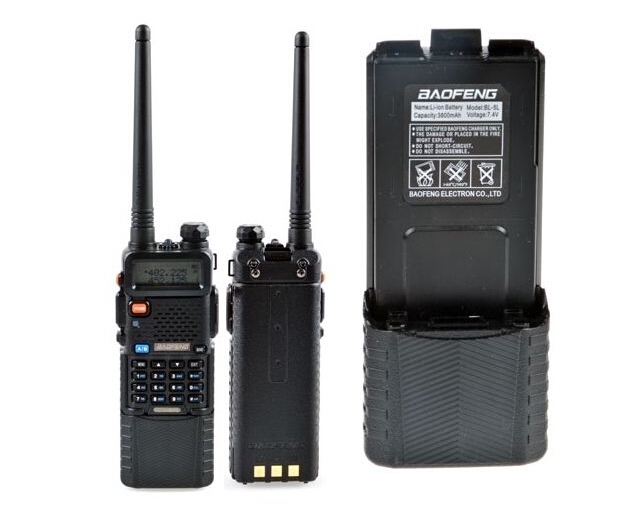 long range uhf/vhf dual band dual display baofeng uv5r walkie-talkie with 3800mAh battery for party