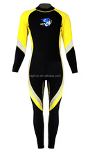 (Hot Selling)Women's Long Sleeve Black and Yellow Colour Neoprene Swimming WetSuits