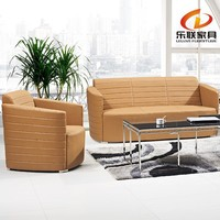 2015 factory direct office furniture LEATHER WOOD SOFA orange used leather sofa